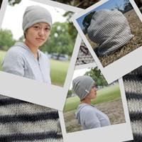 医療用帽子 2011 黒ボーダー帽子