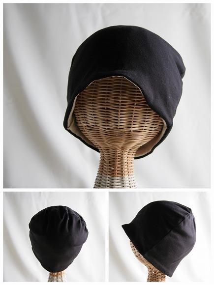 医療用帽子 柔らか真っ黒帽子