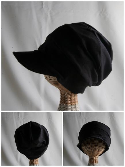 医療用帽子 つば付きだんだん黒帽子