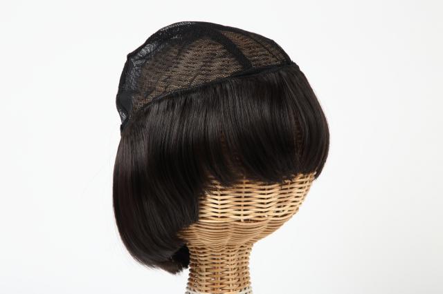 医療用 髪の毛付き ウィッグ帽子 ウィッグに見える帽子 ショート w-03/ダークブラウン(こげ茶)