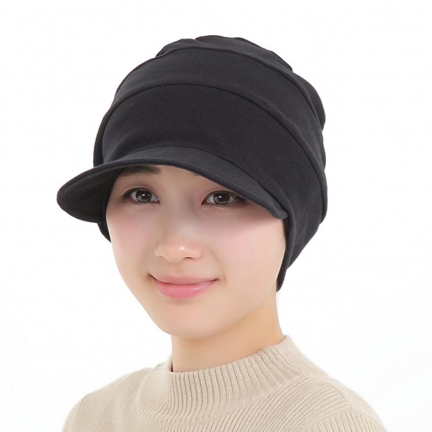 医療用帽子 真っ黒 つば付きだんだん帽子 2051