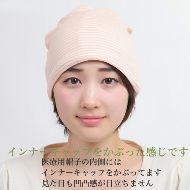 インナーキャップに医療用帽子をかぶったイメージ