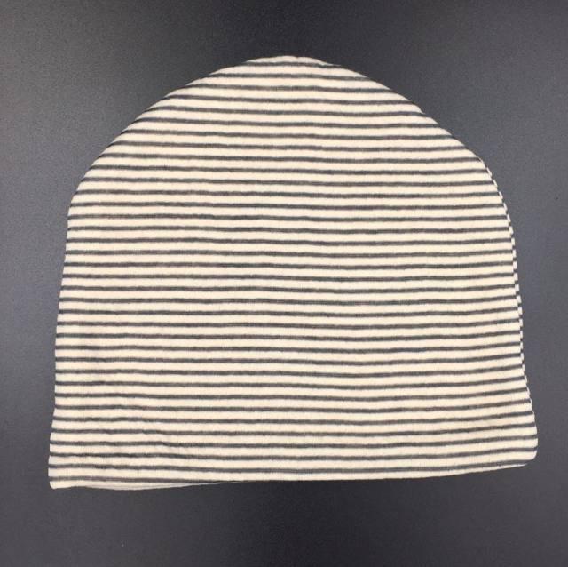 医療用帽子 リボン 黒ボーダー帽子 後
