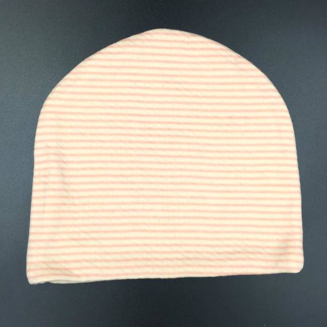 医療用帽子 リボン ピンクボーダー帽子 後