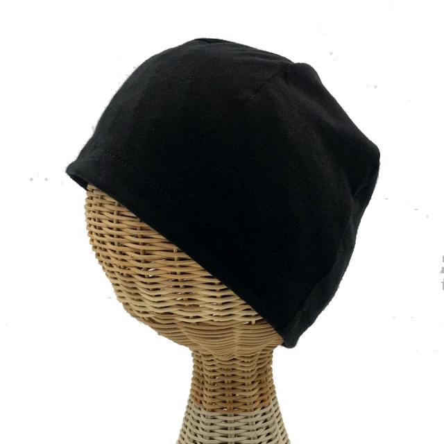 医療用帽子 真っ黒 超薄帽子 横