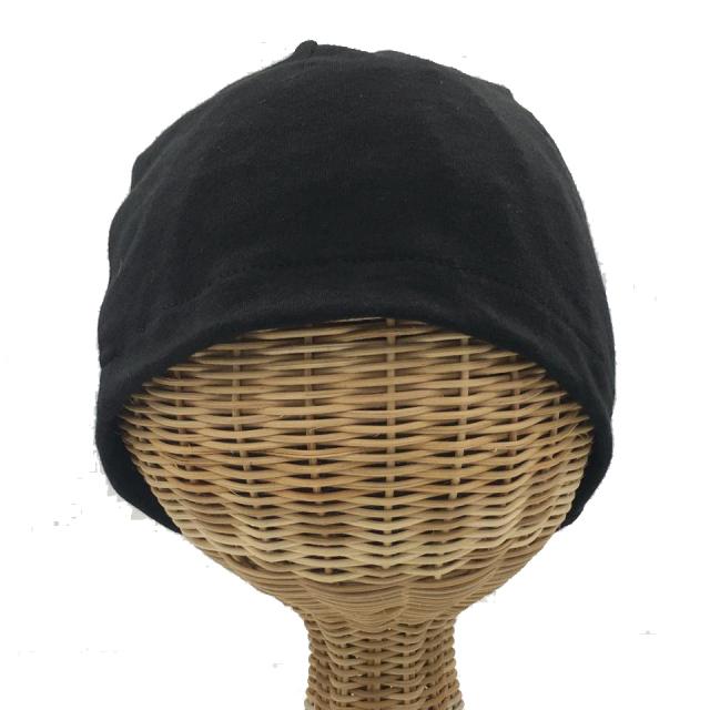 医療用帽子 真っ黒 超薄帽子 正面