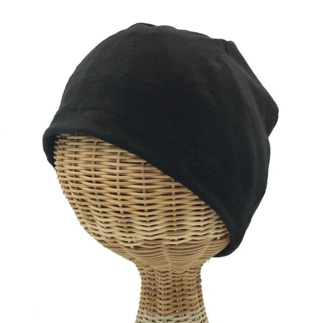 医療用帽子 真っ黒 超薄帽子 前