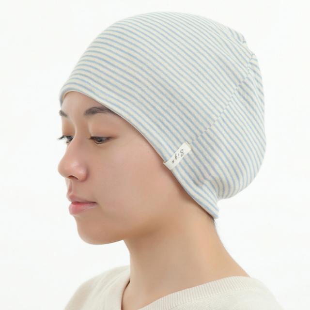 医療用帽子 リボン 水色ボーダー帽子 かぶったイメージ
