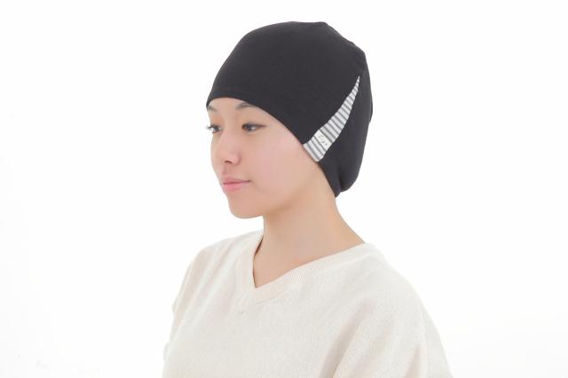医療用帽子 真っ黒横しま帽子 2021