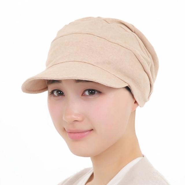 医療用帽子 つば付き帽子 茶綿 2053