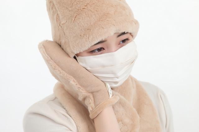ボア帽子・襟マフ・マスク・のイメージ(茶)