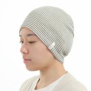 就寝用医療用帽子ランキング1位 黒ボーダー帽子 2011